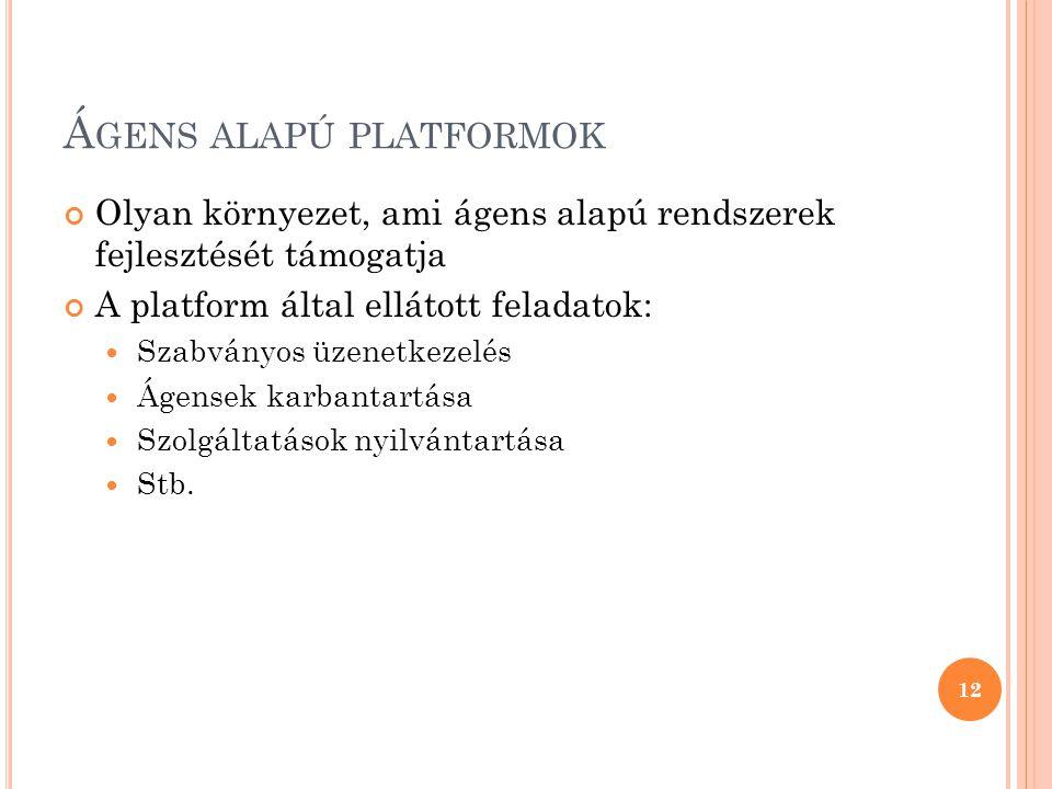Á GENS ALAPÚ PLATFORMOK Olyan környezet, ami ágens alapú rendszerek fejlesztését támogatja A platform által ellátott feladatok:  Szabványos üzenetkezelés  Ágensek karbantartása  Szolgáltatások nyilvántartása  Stb.