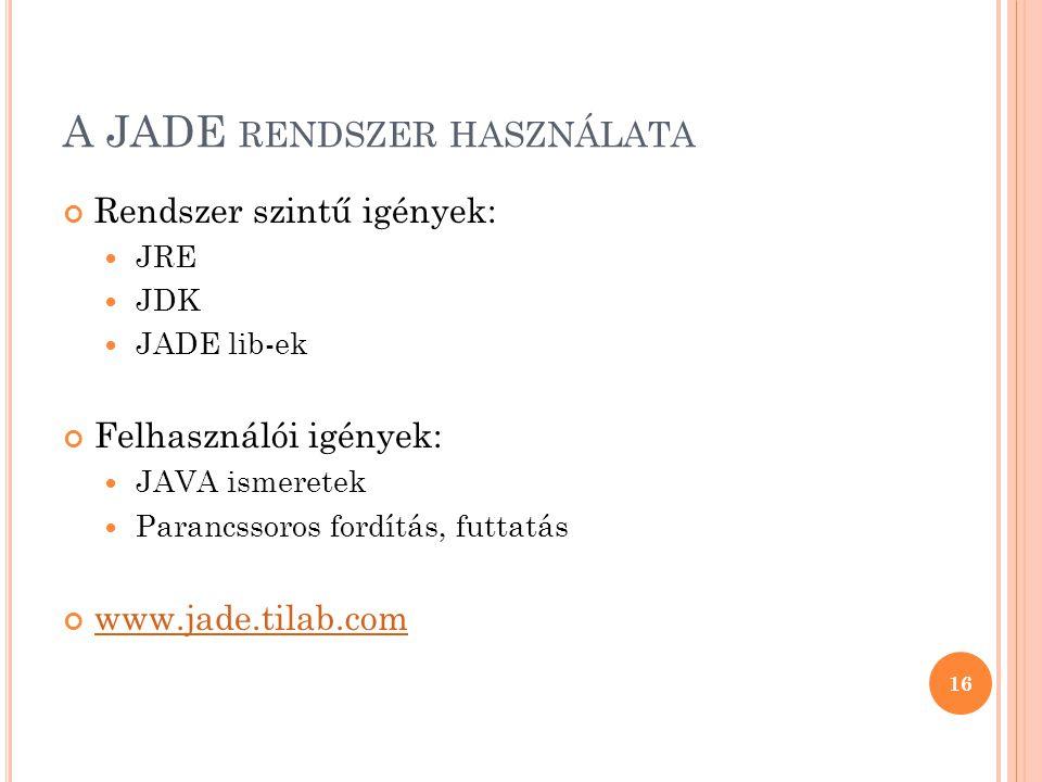 A JADE RENDSZER HASZNÁLATA Rendszer szintű igények:  JRE  JDK  JADE lib-ek Felhasználói igények:  JAVA ismeretek  Parancssoros fordítás, futtatás