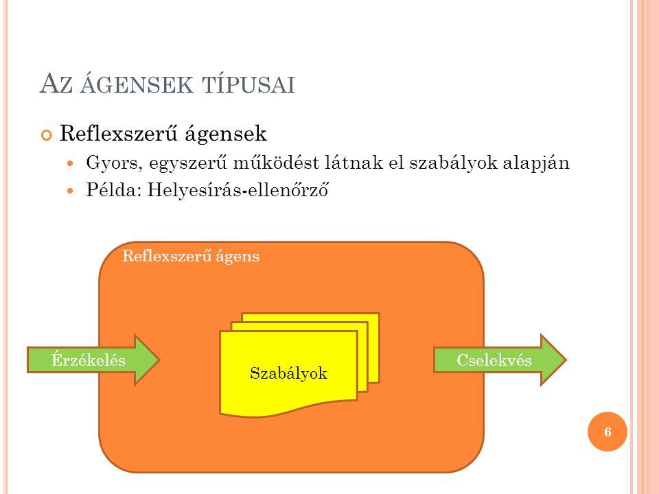 A Z ÁGENSEK TÍPUSAI Reflexszerű ágensek  Gyors, egyszerű működést látnak el szabályok alapján  Példa: Helyesírás-ellenőrző 6 Reflexszerű ágens Csele