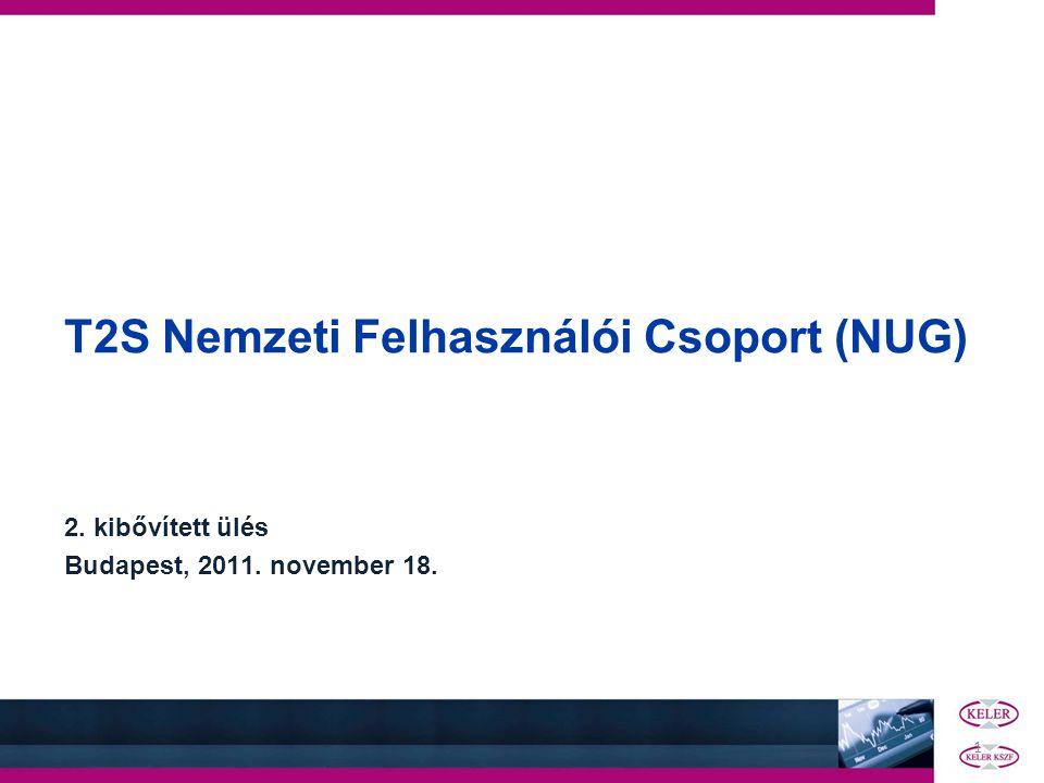 1 T2S Nemzeti Felhasználói Csoport (NUG) 2. kibővített ülés Budapest, 2011. november 18.