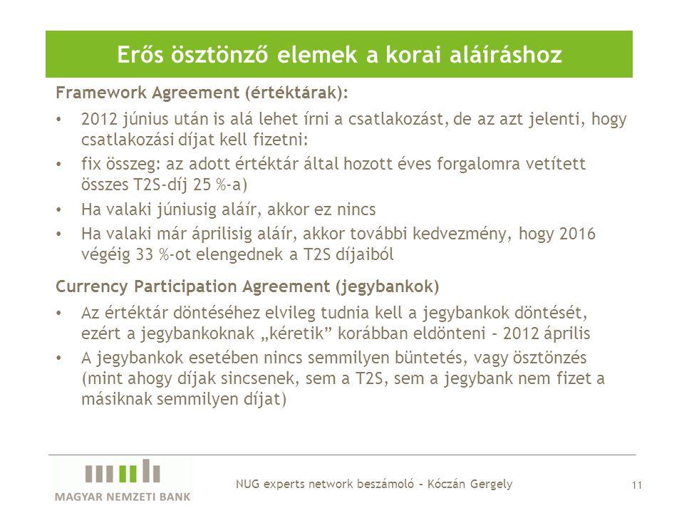 Framework Agreement (értéktárak): • 2012 június után is alá lehet írni a csatlakozást, de az azt jelenti, hogy csatlakozási díjat kell fizetni: • fix