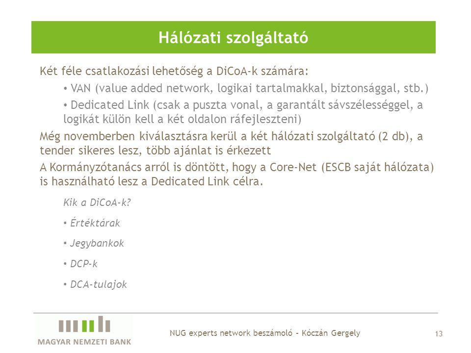 Hálózati szolgáltató 13 Két féle csatlakozási lehetőség a DiCoA-k számára: • VAN (value added network, logikai tartalmakkal, biztonsággal, stb.) • Ded