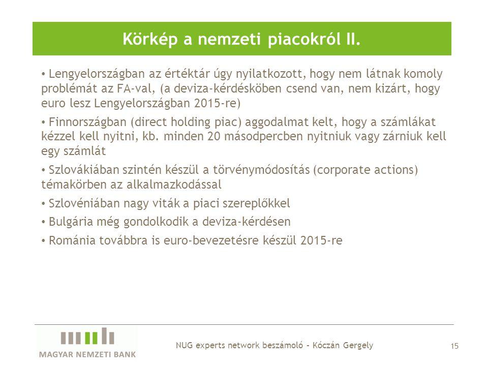 Körkép a nemzeti piacokról II. 15 • Lengyelországban az értéktár úgy nyilatkozott, hogy nem látnak komoly problémát az FA-val, (a deviza-kérdésköben c