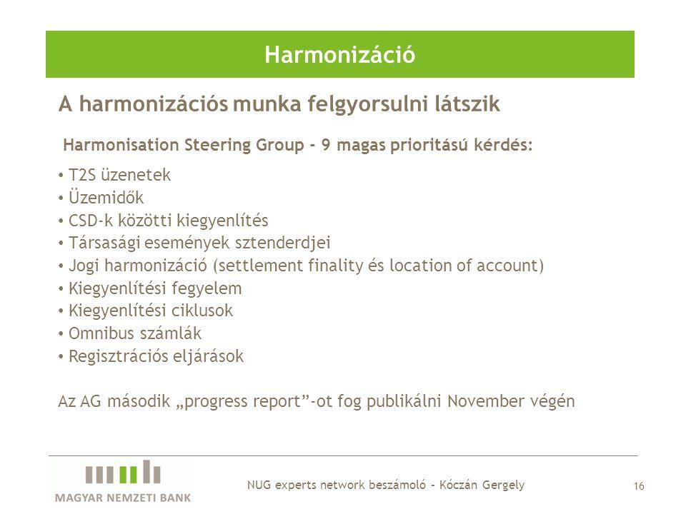 A harmonizációs munka felgyorsulni látszik Harmonizáció 16 Harmonisation Steering Group - 9 magas prioritású kérdés: • T2S üzenetek • Üzemidők • CSD-k