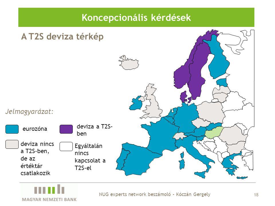 18 Koncepcionális kérdések A T2S deviza térkép Jelmagyarázat: eurozóna deviza a T2S- ben deviza nincs a T2S-ben, de az értéktár csatlakozik Egyáltalán