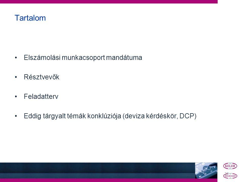 20 Tartalom •Elszámolási munkacsoport mandátuma •Résztvevők •Feladatterv •Eddig tárgyalt témák konklúziója (deviza kérdéskör, DCP)