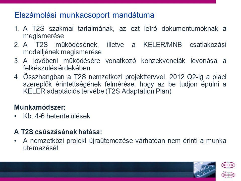 Elszámolási munkacsoport mandátuma 1.A T2S szakmai tartalmának, az ezt leíró dokumentumoknak a megismerése 2.A T2S működésének, illetve a KELER/MNB cs