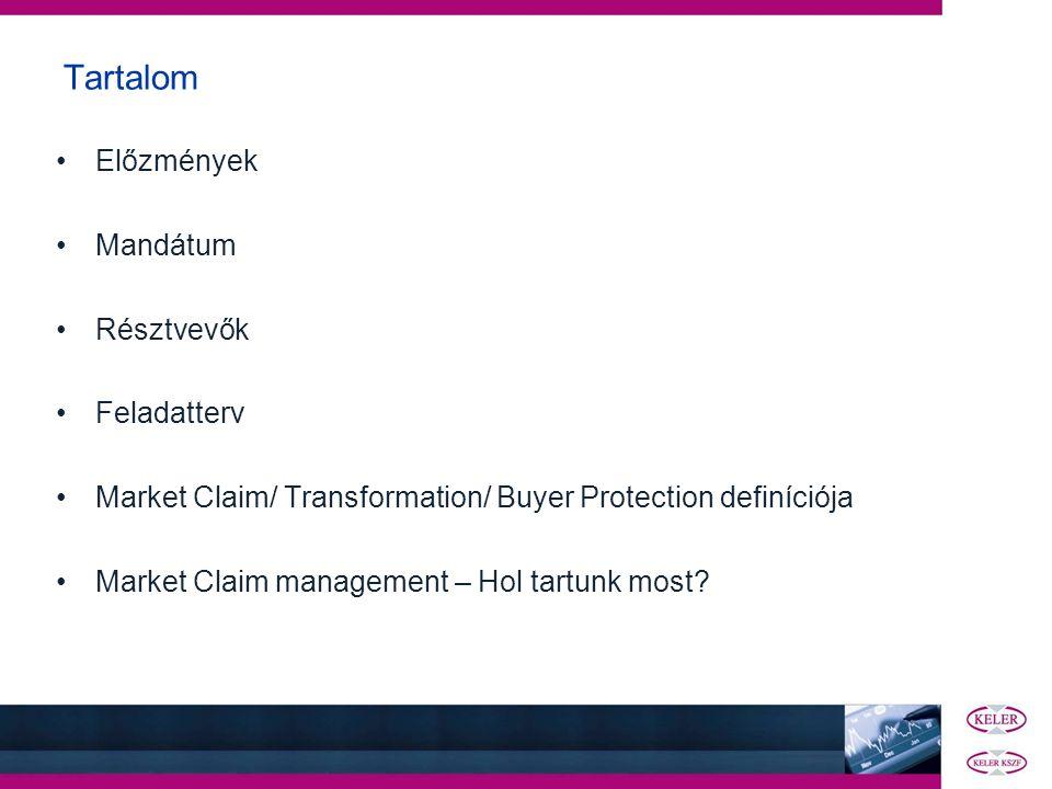 Tartalom •Előzmények •Mandátum •Résztvevők •Feladatterv •Market Claim/ Transformation/ Buyer Protection definíciója •Market Claim management – Hol tar