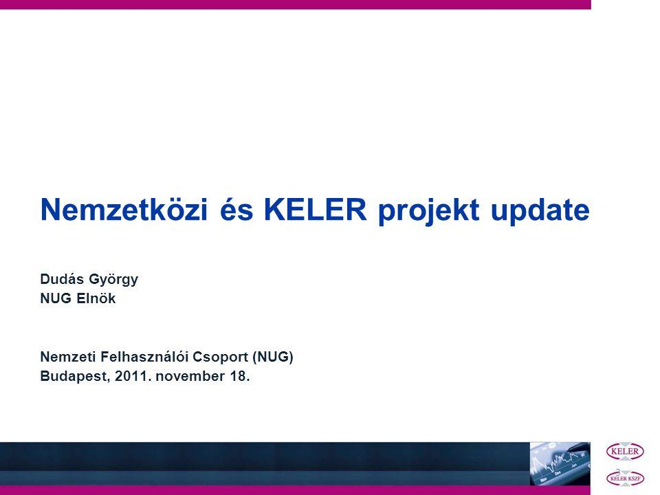3 Nemzetközi és KELER projekt update Dudás György NUG Elnök Nemzeti Felhasználói Csoport (NUG) Budapest, 2011. november 18.