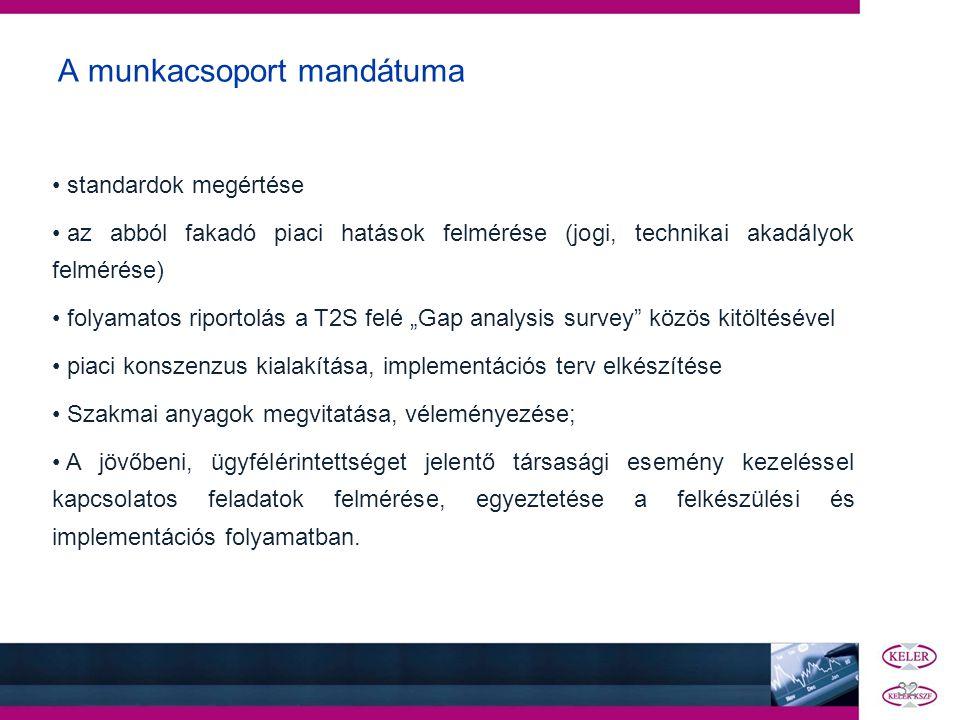A munkacsoport mandátuma • standardok megértése • az abból fakadó piaci hatások felmérése (jogi, technikai akadályok felmérése) • folyamatos riportolá