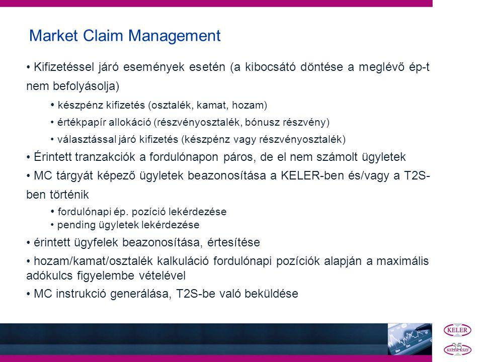 Market Claim Management • Kifizetéssel járó események esetén (a kibocsátó döntése a meglévő ép-t nem befolyásolja) • készpénz kifizetés (osztalék, kam