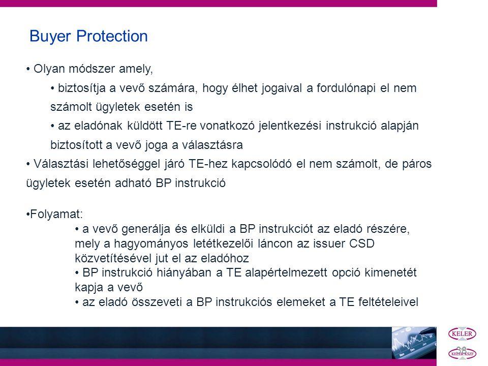 Buyer Protection • Olyan módszer amely, • biztosítja a vevő számára, hogy élhet jogaival a fordulónapi el nem számolt ügyletek esetén is • az eladónak
