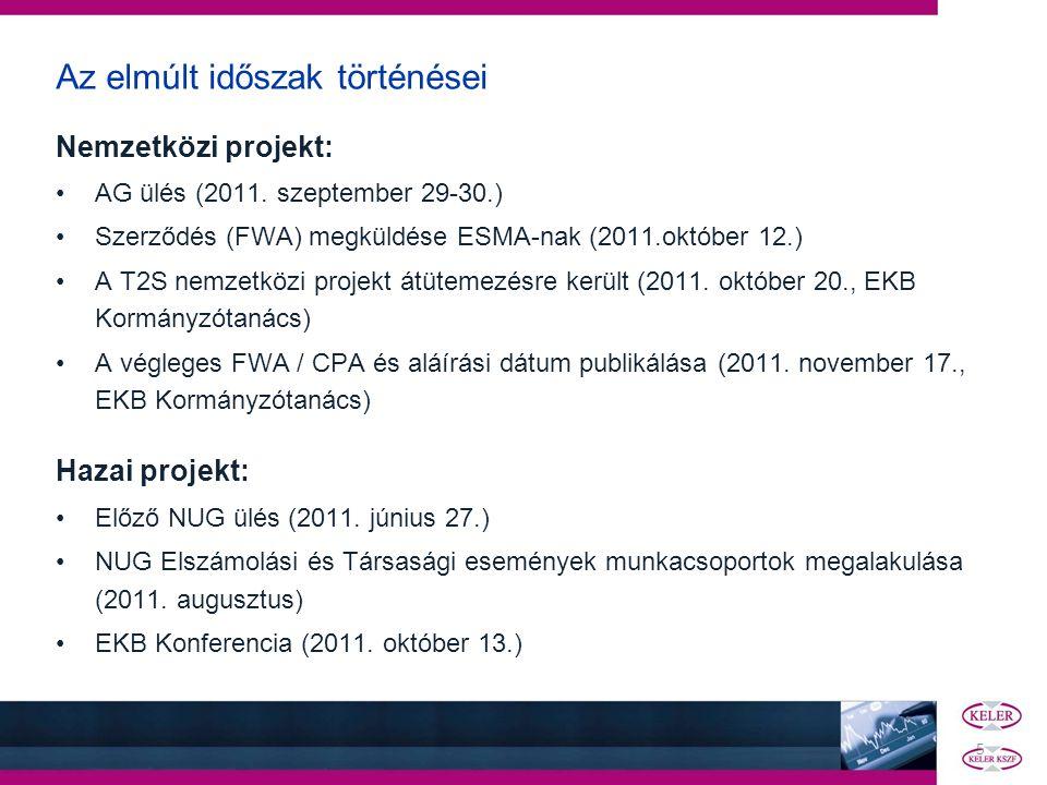 5 Az elmúlt időszak történései Nemzetközi projekt: •AG ülés (2011. szeptember 29-30.) •Szerződés (FWA) megküldése ESMA-nak (2011.október 12.) •A T2S n