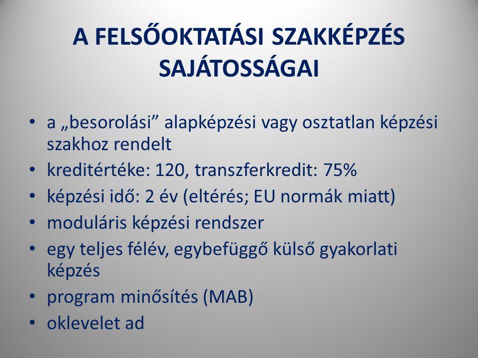 """A FELSŐOKTATÁSI SZAKKÉPZÉS SAJÁTOSSÁGAI • a """"besorolási alapképzési vagy osztatlan képzési szakhoz rendelt • kreditértéke: 120, transzferkredit: 75% • képzési idő: 2 év (eltérés; EU normák miatt) • moduláris képzési rendszer • egy teljes félév, egybefüggő külső gyakorlati képzés • program minősítés (MAB) • oklevelet ad"""