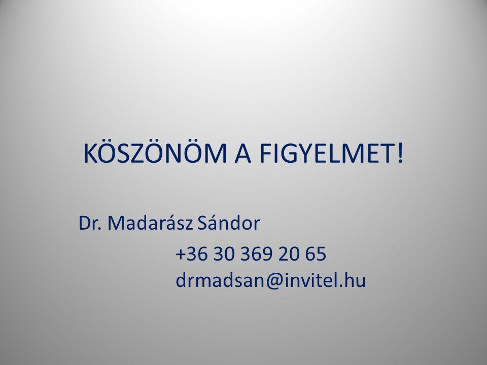KÖSZÖNÖM A FIGYELMET! Dr. Madarász Sándor +36 30 369 20 65 drmadsan@invitel.hu