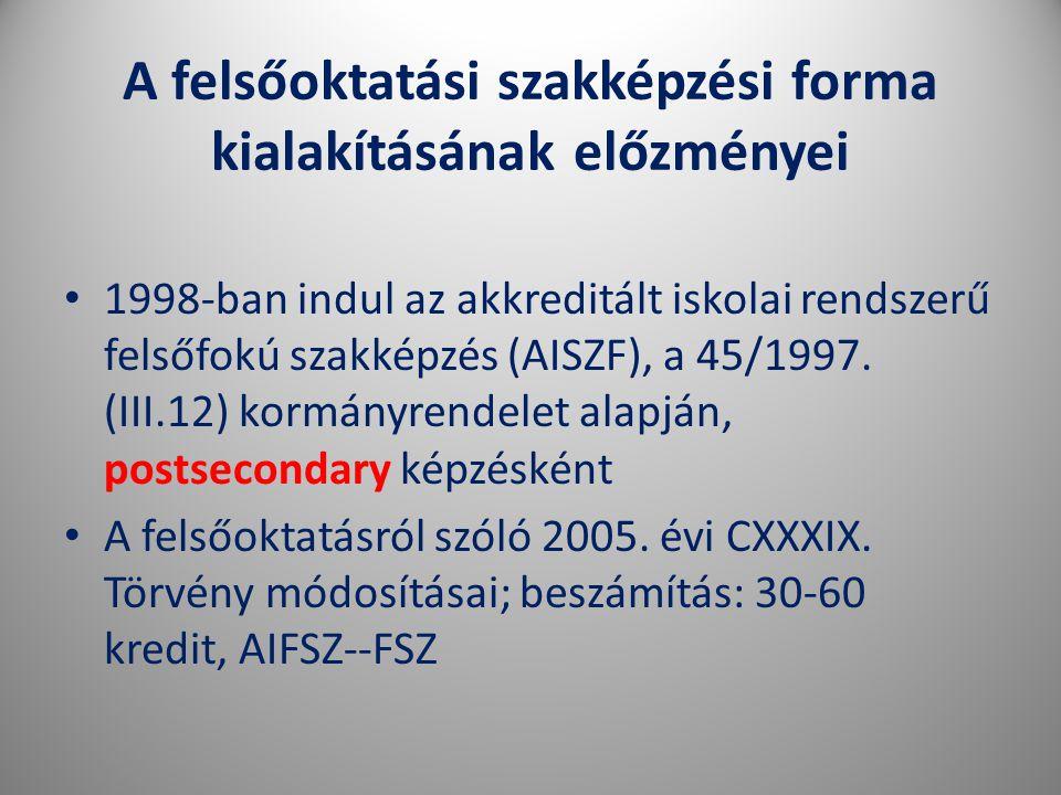 A felsőoktatási szakképzési forma kialakításának előzményei • 1998-ban indul az akkreditált iskolai rendszerű felsőfokú szakképzés (AISZF), a 45/1997.