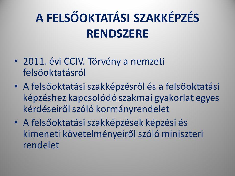 A FELSŐOKTATÁSI SZAKKÉPZÉS RENDSZERE • 2011.évi CCIV.