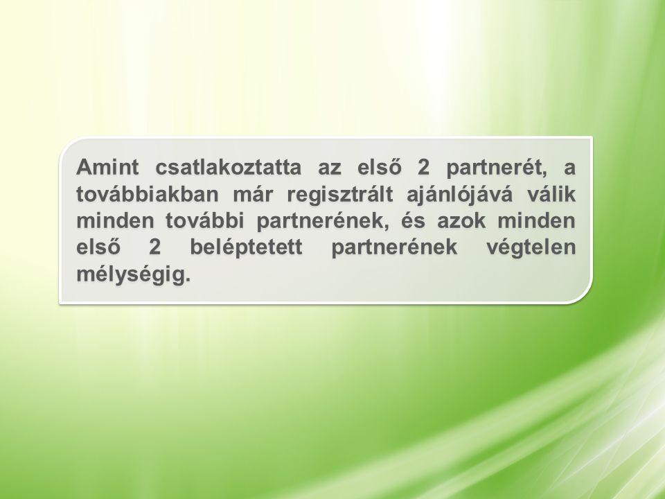 Amint csatlakoztatta az első 2 partnerét, a továbbiakban már regisztrált ajánlójává válik minden további partnerének, és azok minden első 2 beléptetett partnerének végtelen mélységig.
