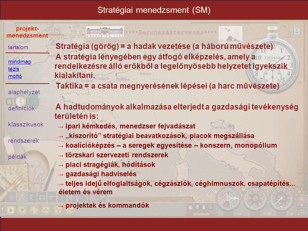 tartalom mindmap tézis mottó alaphelyzet definíciók klasszikusok rendszerek példák projekt- menedzsment Stratégiai menedzsment (SM) Stratégia (görög)