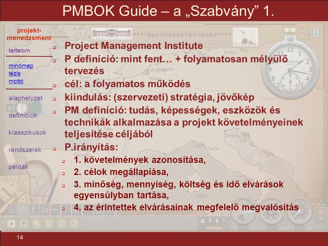 """tartalom mindmap tézis mottó alaphelyzet definíciók klasszikusok rendszerek példák projekt- menedzsment 14 PMBOK Guide – a """"Szabvány"""" 1.  Project Man"""