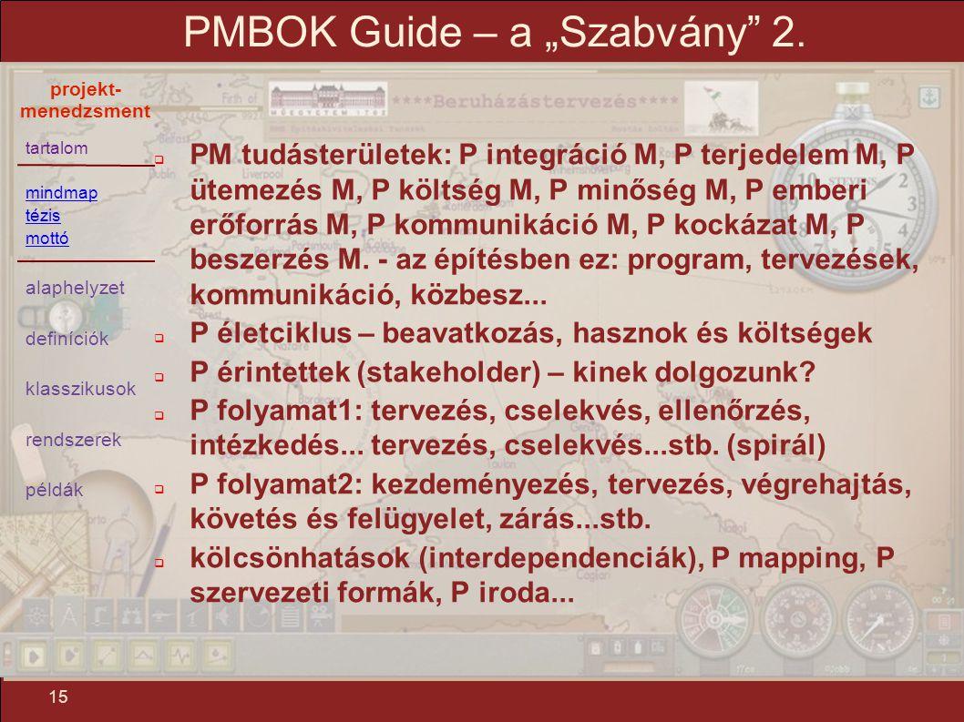 """tartalom mindmap tézis mottó alaphelyzet definíciók klasszikusok rendszerek példák projekt- menedzsment 15 PMBOK Guide – a """"Szabvány"""" 2.  PM tudáster"""