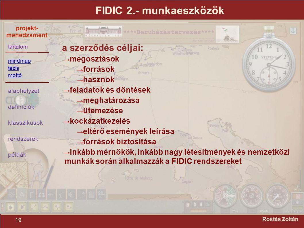 tartalom mindmap tézis mottó alaphelyzet definíciók klasszikusok rendszerek példák projekt- menedzsment 19 Rostás Zoltán FIDIC 2.- munkaeszközök a sze