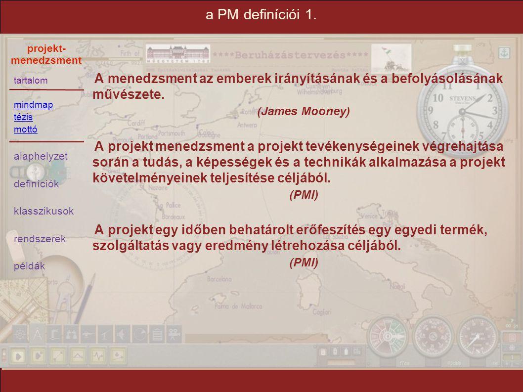 tartalom mindmap tézis mottó alaphelyzet definíciók klasszikusok rendszerek példák projekt- menedzsment a PM definíciói 1. A menedzsment az emberek ir