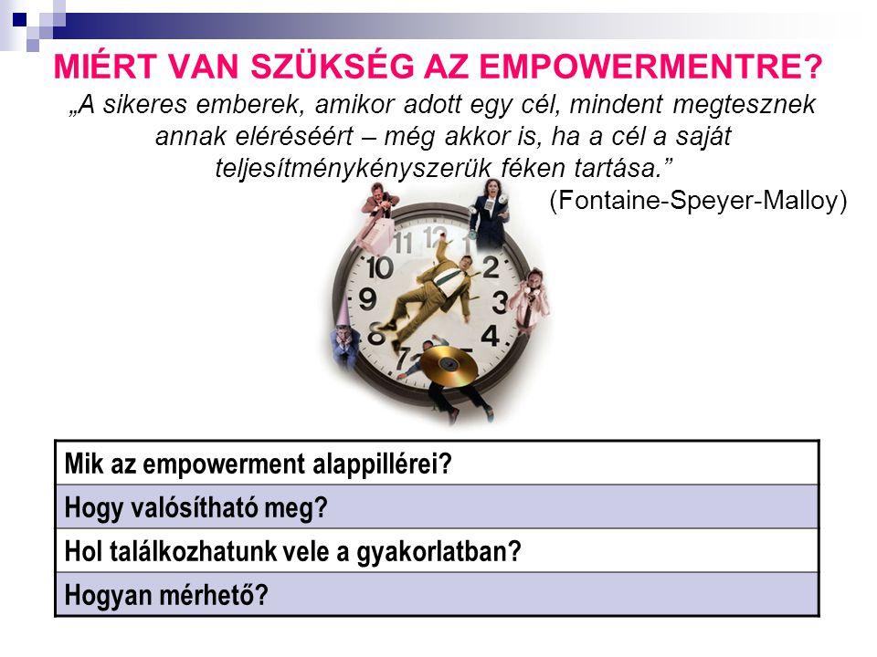 """MIÉRT VAN SZÜKSÉG AZ EMPOWERMENTRE? Mik az empowerment alappillérei? Hogy valósítható meg? Hol találkozhatunk vele a gyakorlatban? Hogyan mérhető? """"A"""