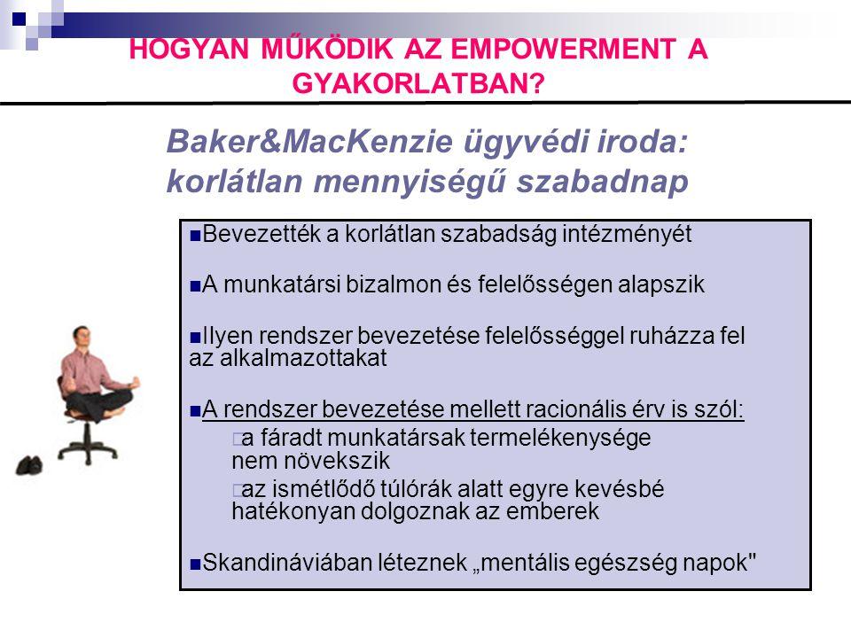 HOGYAN MŰKÖDIK AZ EMPOWERMENT A GYAKORLATBAN? Baker&MacKenzie ügyvédi iroda: korlátlan mennyiségű szabadnap  Bevezették a korlátlan szabadság intézmé