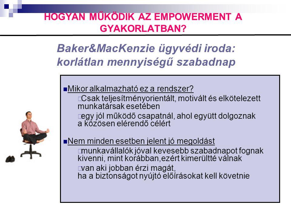HOGYAN MŰKÖDIK AZ EMPOWERMENT A GYAKORLATBAN? Baker&MacKenzie ügyvédi iroda: korlátlan mennyiségű szabadnap  Mikor alkalmazható ez a rendszer?  Csak