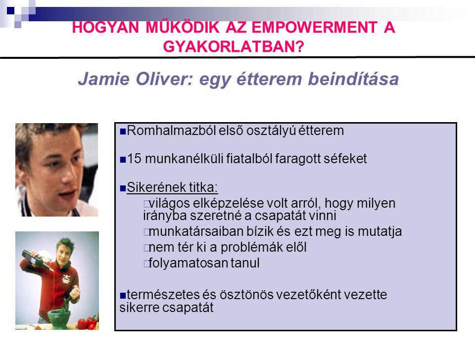 HOGYAN MŰKÖDIK AZ EMPOWERMENT A GYAKORLATBAN? Jamie Oliver: egy étterem beindítása  Romhalmazból első osztályú étterem  15 munkanélküli fiatalból fa