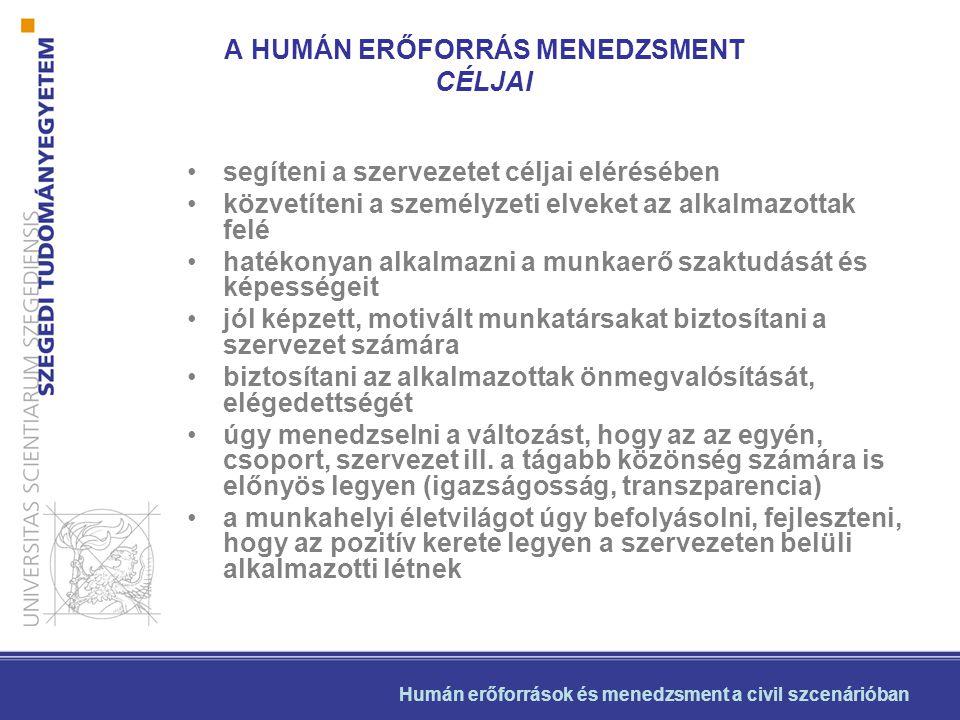 •segíteni a szervezetet céljai elérésében •közvetíteni a személyzeti elveket az alkalmazottak felé •hatékonyan alkalmazni a munkaerő szaktudását és ké