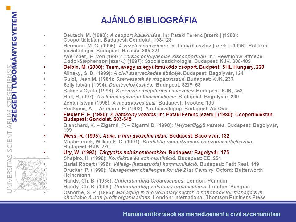 •Deutsch, M. (1980): A csoport kialakulása. In: Pataki Ferenc [szerk.] (1980): Csoportlélektan. Budapest: Gondolat, 103-128 •Hermann, M. G. (1996): A