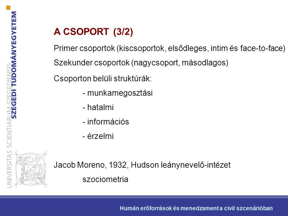 Humán erőforrások és menedzsment a civil szcenárióban A CSOPORT (3/3) Vonatkoztatás: amikor az egyén mások helyzetét veszi támpontul Normatív vonatkoztatási csoport (Kelley, 1980) jutalmazhat vagy büntethet Csoportnorma (Musafer Serif) Vezetéstudomány Vezetési stílusok (Kurt Lewin)