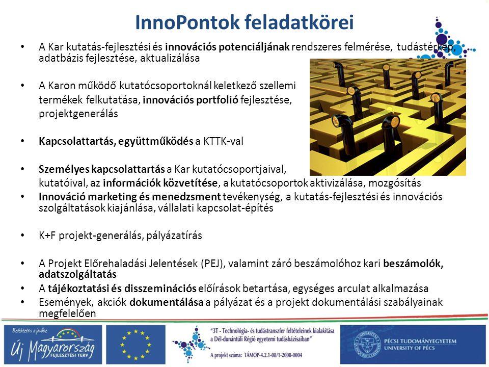 InnoPontok feladatkörei • A Kar kutatás-fejlesztési és innovációs potenciáljának rendszeres felmérése, tudástérkép, adatbázis fejlesztése, aktualizálá