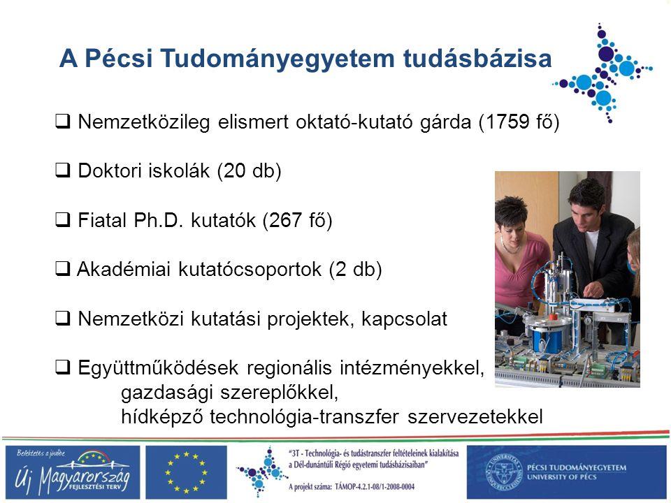A Pécsi Tudományegyetem tudásbázisa  Nemzetközileg elismert oktató-kutató gárda (1759 fő)  Doktori iskolák (20 db)  Fiatal Ph.D. kutatók (267 fő) 