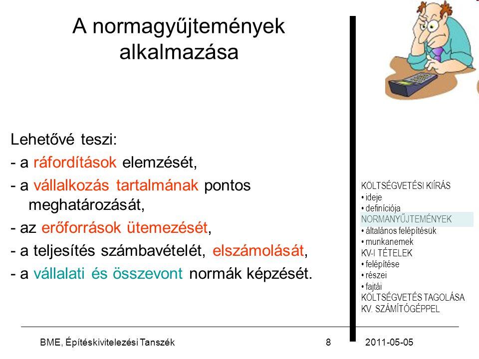 2011-05-05(C) Szőnyi László39 Felhasznált irodalom Szőnyi László: Építőipari beruházások költségtervezése, tanszéki segédlet, 3.