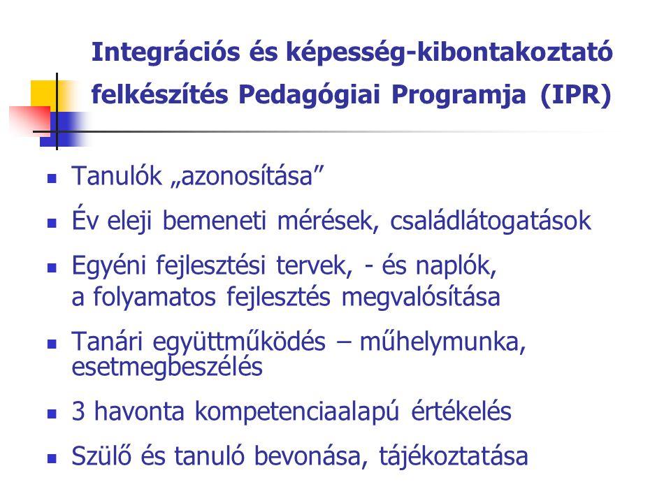 """Integrációs és képesség-kibontakoztató felkészítés Pedagógiai Programja (IPR)  Tanulók """"azonosítása""""  Év eleji bemeneti mérések, családlátogatások """