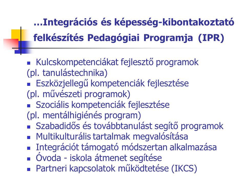 …Integrációs és képesség-kibontakoztató felkészítés Pedagógiai Programja (IPR)  Kulcskompetenciákat fejlesztő programok (pl. tanulástechnika)  Eszkö