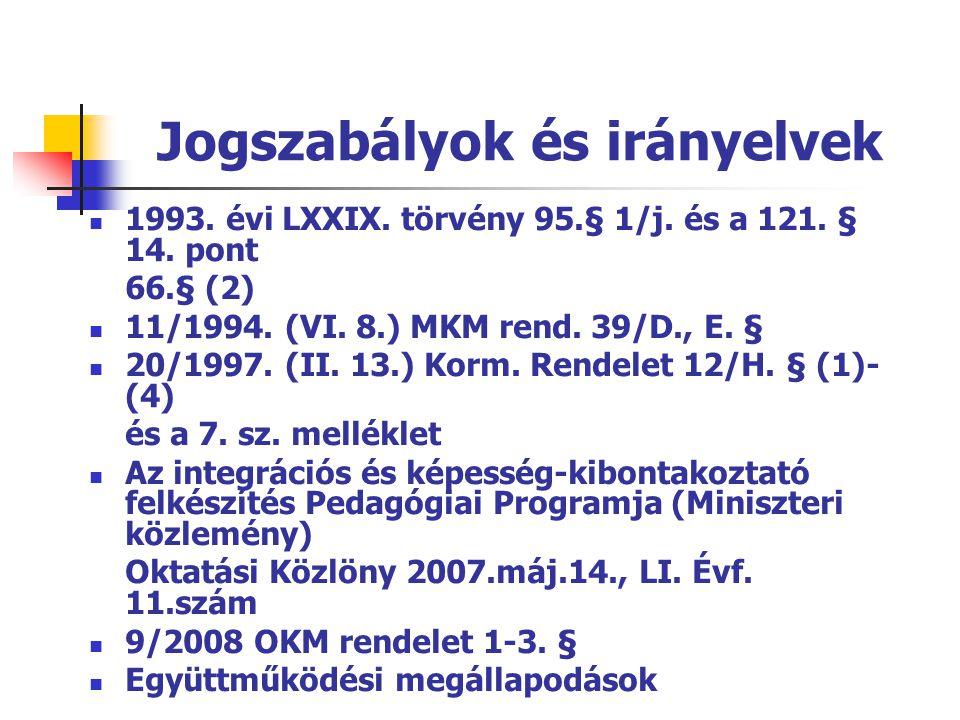 Jogszabályok és irányelvek  1993. évi LXXIX. törvény 95.§ 1/j. és a 121. § 14. pont 66.§ (2)  11/1994. (VI. 8.) MKM rend. 39/D., E. §  20/1997. (II