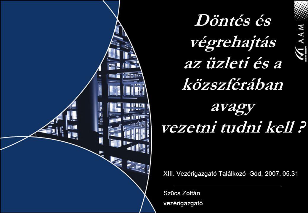 Döntés és végrehajtás az üzleti és a közszférában avagy vezetni tudni kell ? XIII. Vezérigazgató Találkozó- Göd, 2007. 05.31 Szűcs Zoltán vezérigazgat