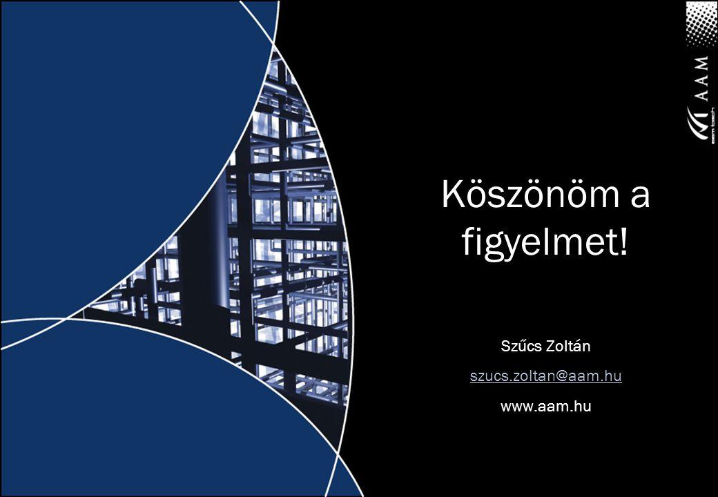 Köszönöm a figyelmet! Szűcs Zoltán szucs.zoltan@aam.hu www.aam.hu