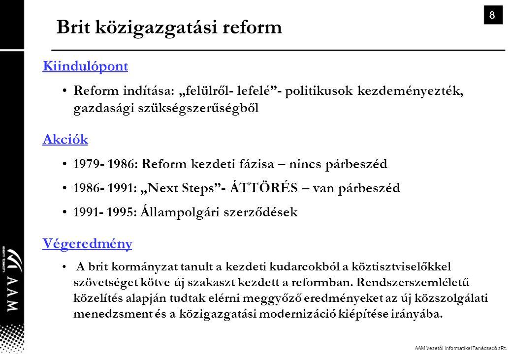 """AAM Vezetői Informatikai Tanácsadó zRt. 8 Brit közigazgatási reform Kiindulópont •Reform indítása: """"felülről- lefelé""""- politikusok kezdeményezték, gaz"""