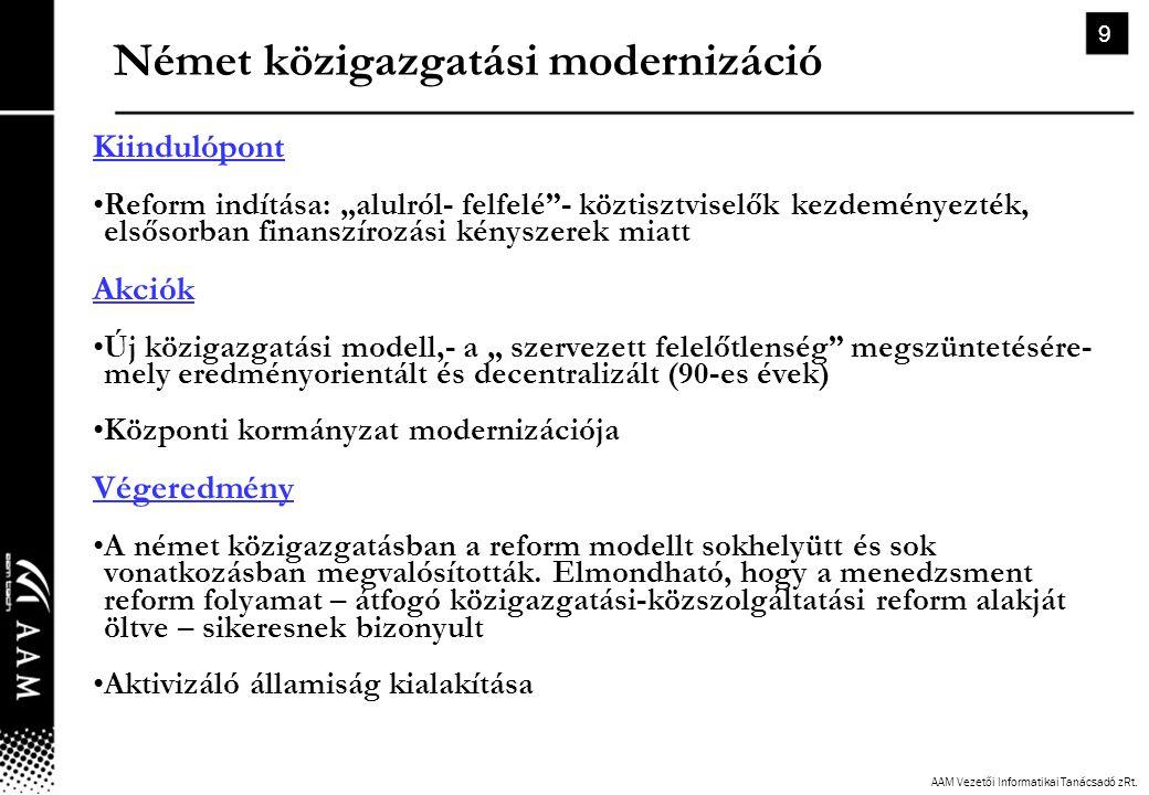 """AAM Vezetői Informatikai Tanácsadó zRt. 9 Német közigazgatási modernizáció Kiindulópont •Reform indítása: """"alulról- felfelé""""- köztisztviselők kezdemén"""