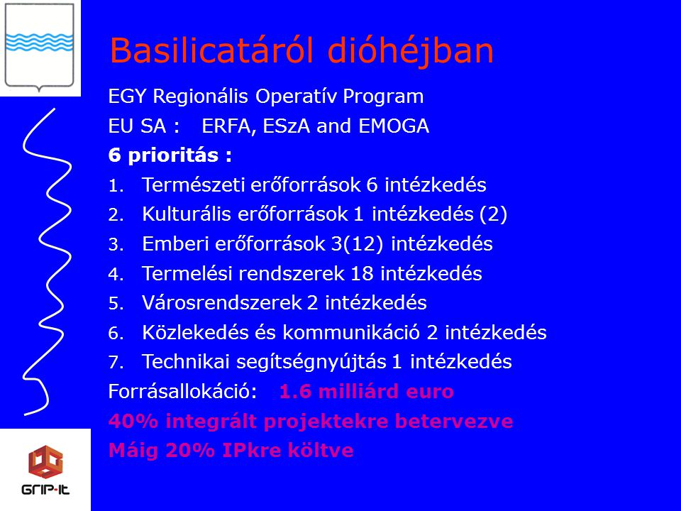 Basilicatáról dióhéjban EGY Regionális Operatív Program EU SA : ERFA, ESzA and EMOGA 6 prioritás : 1.