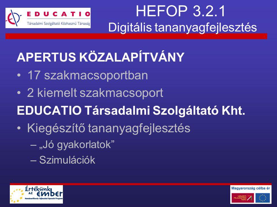 HEFOP 3.2.1 Digitális tananyagfejlesztés APERTUS KÖZALAPÍTVÁNY •17 szakmacsoportban •2 kiemelt szakmacsoport EDUCATIO Társadalmi Szolgáltató Kht. •Kie