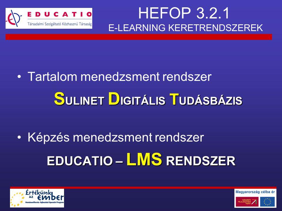 HEFOP 3.2.1 E-LEARNING KERETRENDSZEREK •Tartalom menedzsment rendszer S ULINET D IGITÁLIS T UDÁSBÁZIS •Képzés menedzsment rendszer EDUCATIO – LMS REND