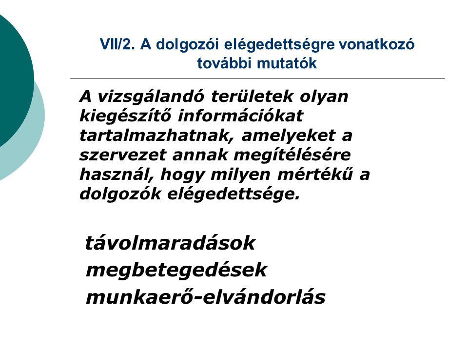 VII/2. A dolgozói elégedettségre vonatkozó további mutatók A vizsgálandó területek olyan kiegészítő információkat tartalmazhatnak, amelyeket a szervez