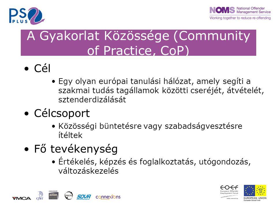 A Gyakorlat Közössége (Community of Practice, CoP) •Cél •Egy olyan európai tanulási hálózat, amely segíti a szakmai tudás tagállamok közötti cseréjét, átvételét, sztenderdizálását •Célcsoport •Közösségi büntetésre vagy szabadságvesztésre ítéltek •Fő tevékenység •Értékelés, képzés és foglalkoztatás, utógondozás, változáskezelés