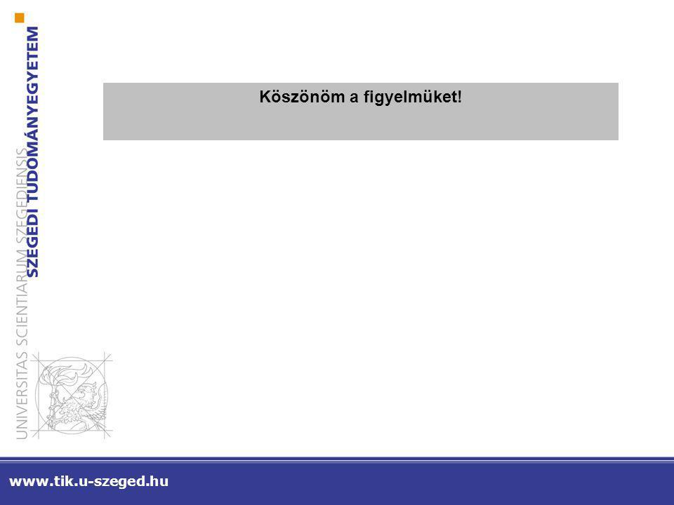 www.tik.u-szeged.hu Köszönöm a figyelmüket!